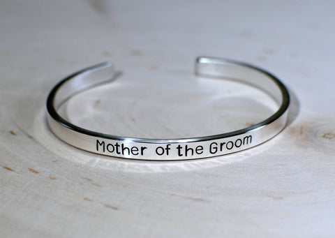 Sterling silver mother of the groom cuff bracelet, NiciArt