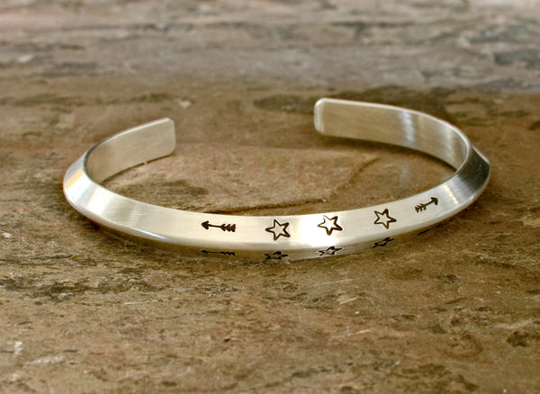 Modern triangular solid sterling silver cuff bracelet with custom hand stamping and engraving
