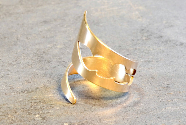 Bronze Bypass Ring with Feather Cut Out, NiciArt