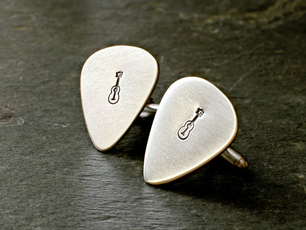 Sterling silver guitar pick cuff links rocking out with musical inspiration