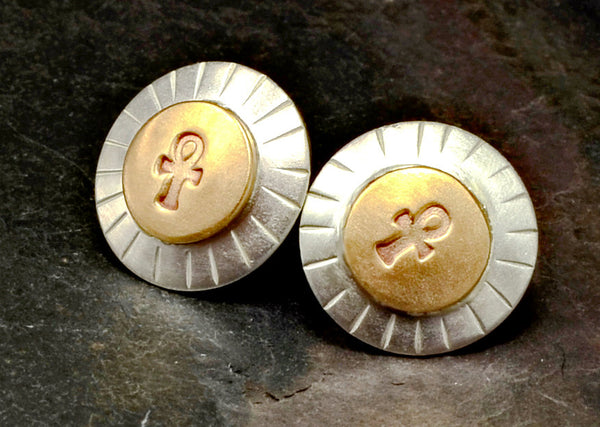 Sterling silver stud earrings with ankhs on bronze