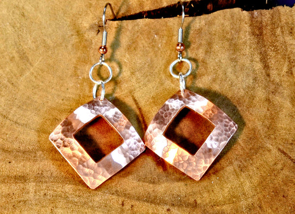 Hammered Copper Dangle Earrings Handmade with Square Window