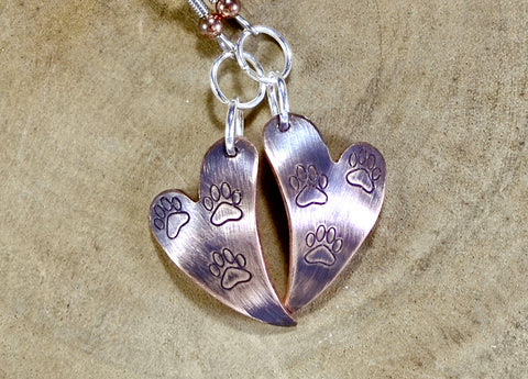 Copper Heart Shaped Dangle Earrings with Paw Prints and Iridescent Purple Patina, NiciArt