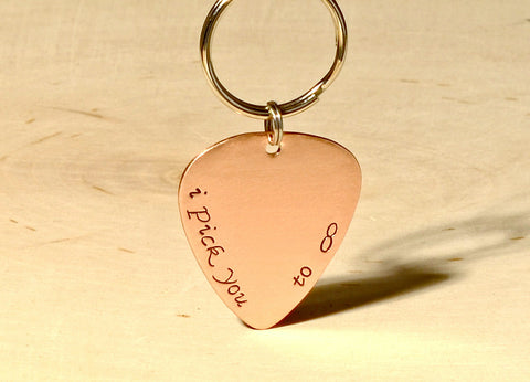 I Pick You to Infinity Copper Guitar Pick Keychain, NiciArt