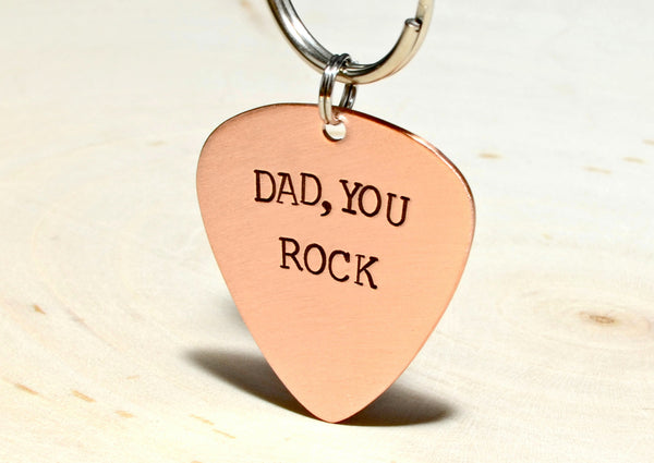Dad Copper Guitar Pick Keychain for a Rocking Papa