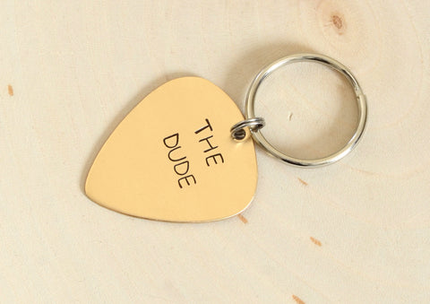 Custom Bronze Guitar Pick Keychain, NiciArt