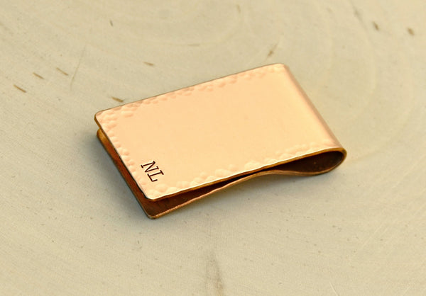 Personalized hammered copper money clip with Initials