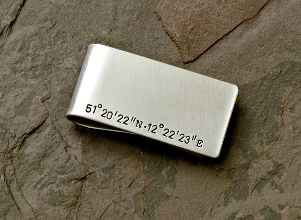 Latitude Longitude Sterling Silver Money Clip with Personalized coordinates