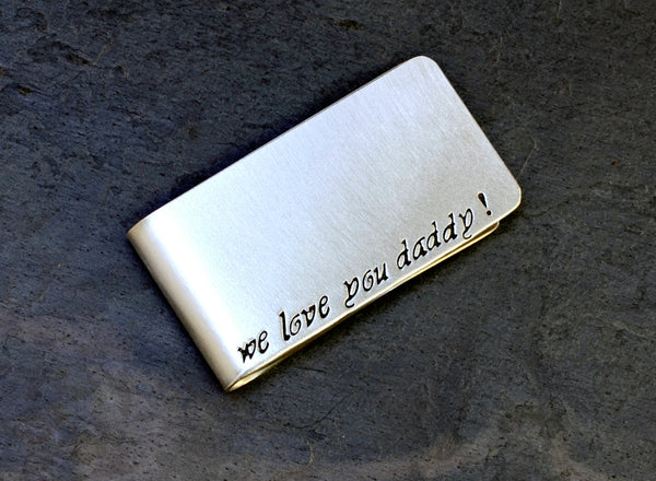 Sterling Silver Money Clip for Fathers Day with We Love you Daddy