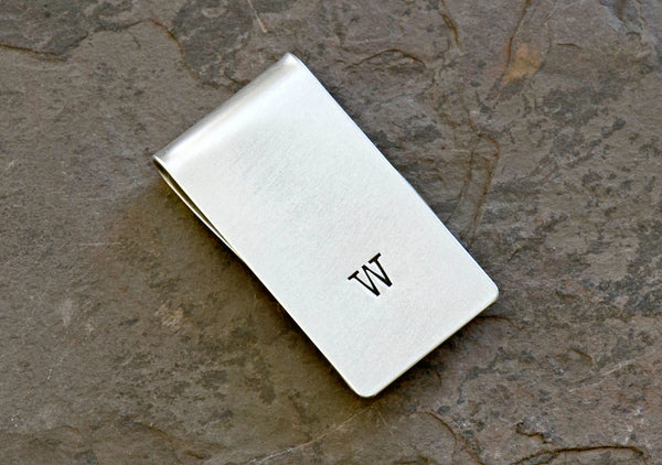 Money Clip Personalized with Initial in Sterling Silver