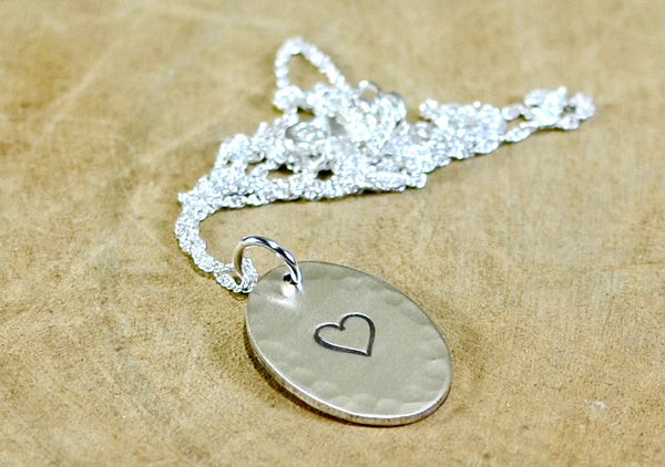Sterling Silver Hammered Oval Necklace with Heart or Personalized Stamping