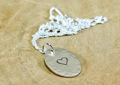 Sterling Silver Hammered Oval Necklace with Heart or Personalized Stamping, NiciArt