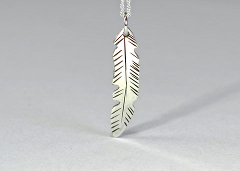 Sterling silver feather necklace freehand designed and hand engraved, NiciArt