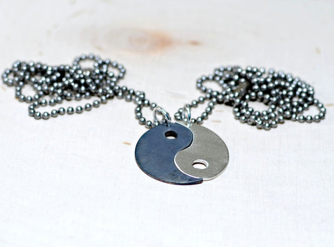 Yin Yang Sterling Silver Couples Necklace, NiciArt