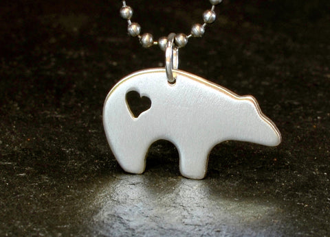 Spirit bear sterling silver necklace with heart cut out, NiciArt