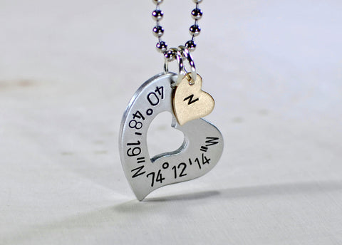 Latitude longitude sterling silver heart necklace with monogram bronze charm, NiciArt