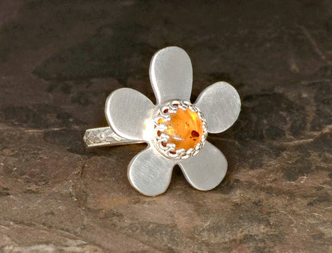 Amber Flower Sterling Silver Cocktail or Bridesmaid Ring, NiciArt