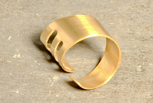 Modern Bronze Bypass Ring Wrapped with a Hint of Art Deco