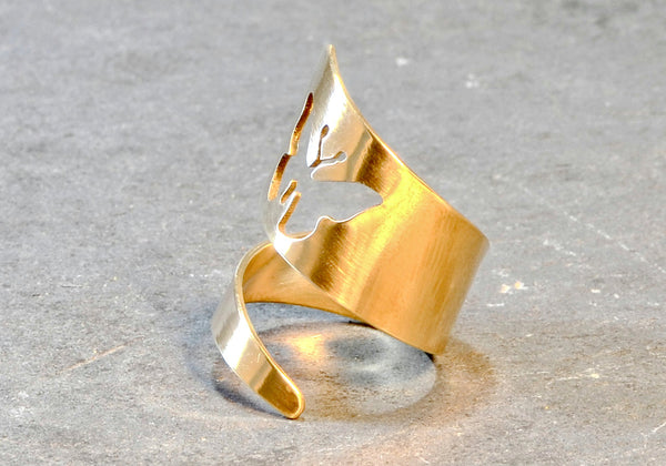 Dainty Bronze Bypass Ring with Butterfly Cut Out