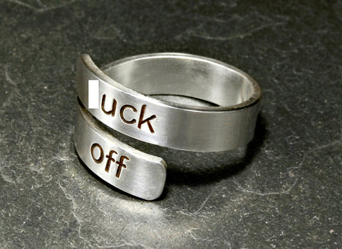 Fuck off sterling silver bypass ring