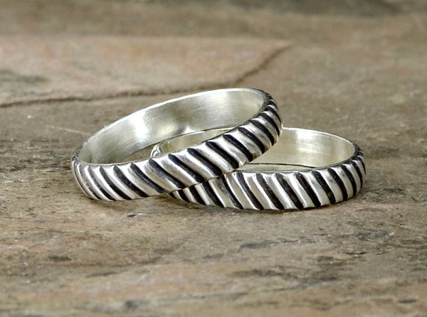 Couples Interlocking Gears Sterling Silver Rings