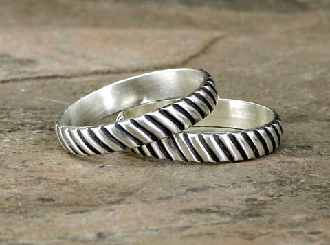 Couples Interlocking Gears Sterling Silver Rings, NiciArt