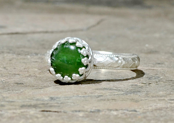 Green Jade Gemstone Sterling Silver Ring with Geometrical Band