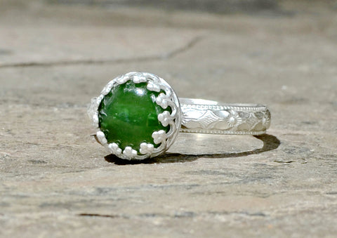 Green Jade Gemstone Sterling Silver Ring with Geometrical Band, NiciArt