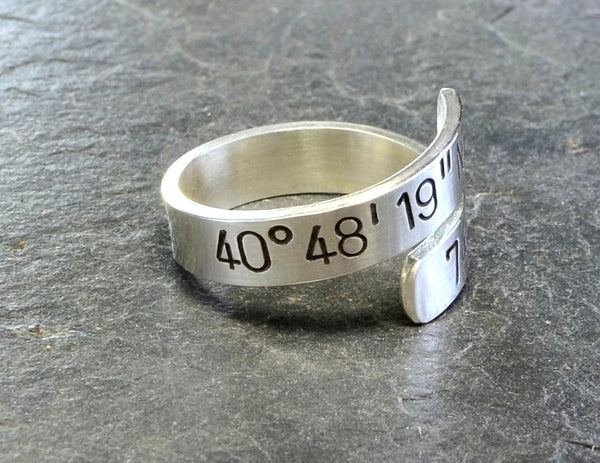 Sterling silver bypass personalized with latitude and longitude