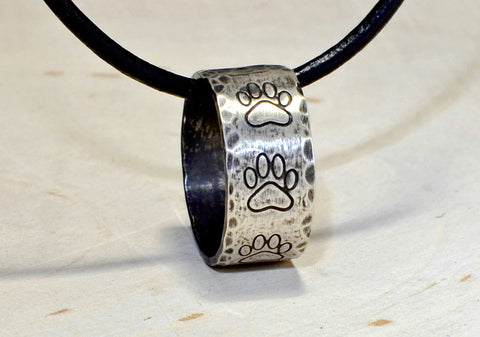 Paw print sterling silver paw printed and hammered ring necklace with wild antique patina, NiciArt