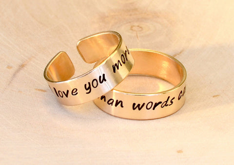 Bronze ring set I love you more than words can say on two rings, NiciArt