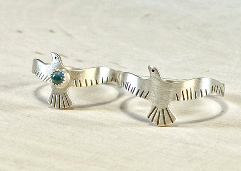 Sterling Silver Love Birds Couples Rings with Blue Topaz