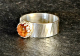 Hammered Sterling Silver Artisan Ring with Organic Amber Stone, NiciArt