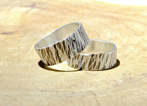 Sterling silver riveting hammered ring set or weddings bands, NiciArt
