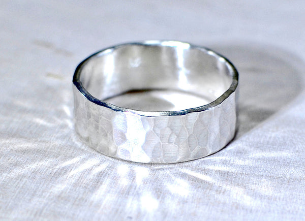 Hammered Sterling Silver Ring with rustic beauty