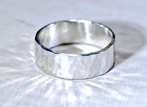 Hammered Sterling Silver Ring with rustic beauty, NiciArt