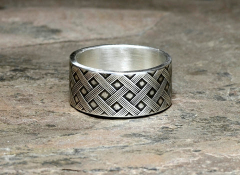Woven Sterling Silver Cross Weave Ring, NiciArt