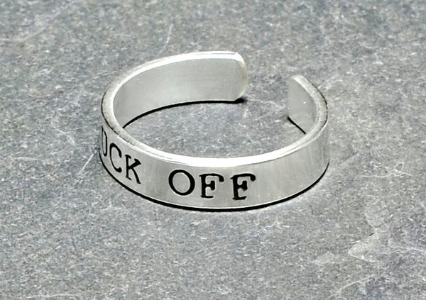 Sterling silver men's fuck off toe ring
