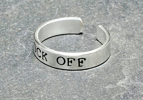 Sterling silver men's fuck off toe ring, NiciArt