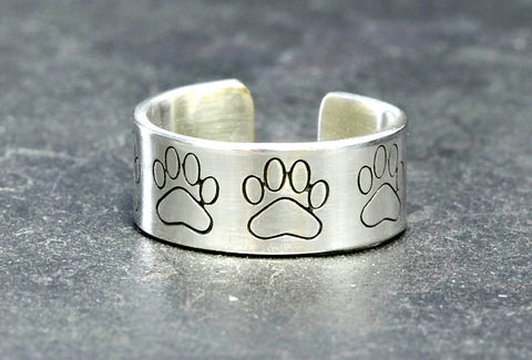 Sterling silver toe ring with paw prints, NiciArt
