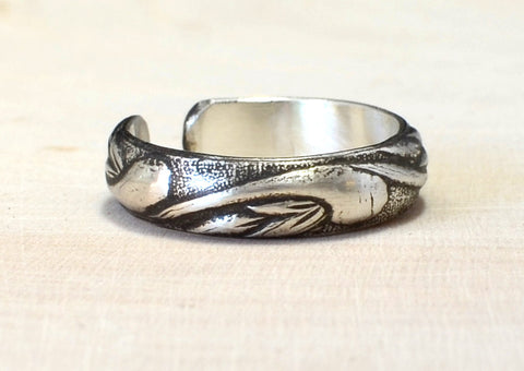 Sterling Silver Toe Ring Handmade with Swirling Leaves and Antiqued Patina, NiciArt