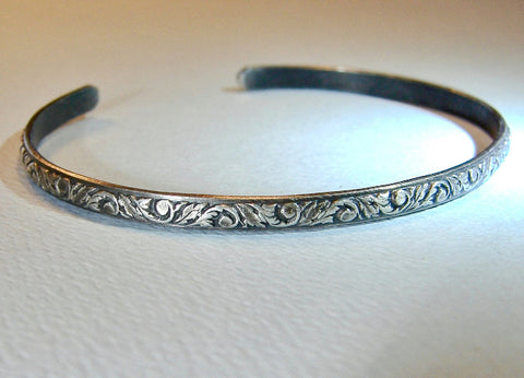 Sterling Silver Cuff Bracelet with Leaf Pattern and Patina, NiciArt
