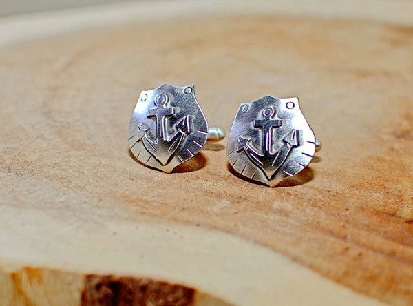 Nautical anchor sterling silver cuff links