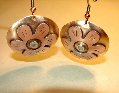 Bronze disc earrings with lily flowers in copper and sterling silver, NiciArt