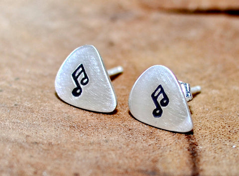Guitar pick sterling silver stud earrings with music notes, NiciArt