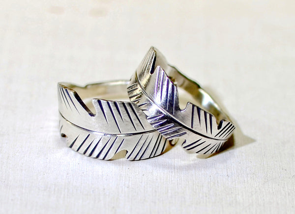 Sterling silver feather ring set for trust and honour
