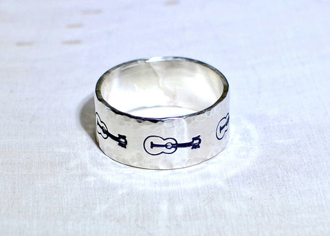 Sterling silver guitar stamped ring with hammered borders, NiciArt