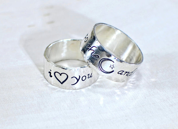 Sterling silver I love you to the moon and back ring set with hammered borders