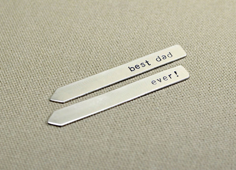 Sterling silver collar stays handmade for the best dad ever, NiciArt
