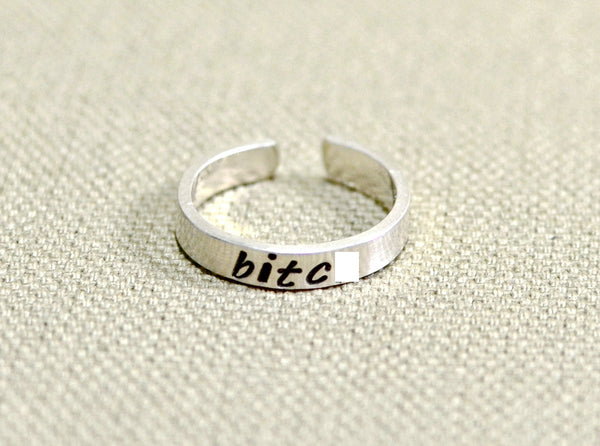 Bitch Toe Ring in Sterling Silver, NiciArt